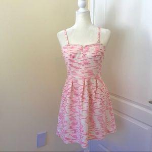 Anthropologie Pink Tweed Dress Strapless Summer